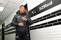 Martin Olsson of Swansea City arrives for the Sky Bet Championship match between Derby City and Swansea City at the Pride Park Stadium in Derby, England, UK. Saturday 01 December 2018
