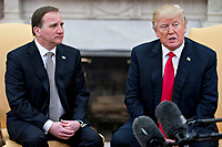 U.S. President Donald Trump, right, speaks as Stefan Lofven, Sweden's prime minister, listens during a meeting in the Oval Office of the White House in Washington, D.C., U.S., on Tuesday, March 6, 2018. Trump and Lofven are looking to focus on trade and investment between the two countries and ways to achieve shared defense goals. <br /> CAP/MPI/RS<br /> &copy;RS/MPI/Capital Pictures