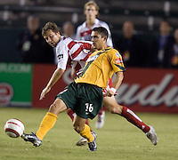 Herculez Gomez releases the ball in the US Open Cup at the Home Depot Center, in Carson, Calif., Wednesday, September 28, 2005.