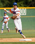 WATERBURY, CT-0712917JS15-- Wolcott's Rob Johnston  (30) throws to first for the out after fielding ground ball during their Mickey Mantle World Series game against Toronto  Saturday at Municipal Stadium in Waterbury. <br /> Jim Shannon Republican-American