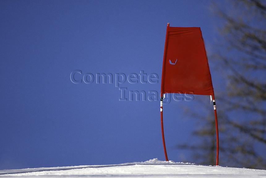 Red banner on ski slope