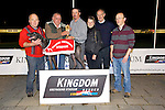 Knocktoo Kingo, winner of the Kingdom Greyhound Stadium Tri-Distance Final at the KGS on Friday Nelius O'Connell, (Trainer) John Dobe , Limerick (Owner), Kieran Casey, Kingdom Greyhounds, Mary Dillan, Pat Griffin, David Carroll,
