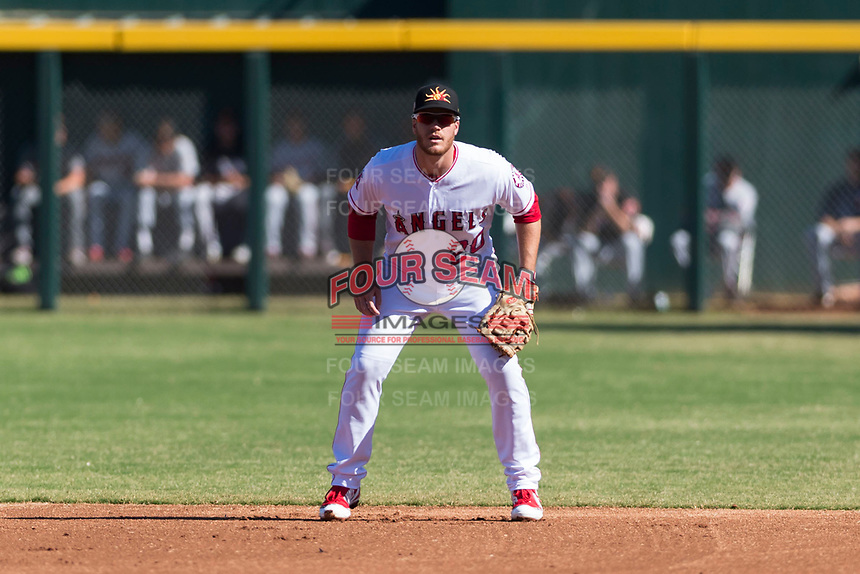 Mesa Solar Sox first baseman David MacKinnon (20), of the Los Angeles Angels organization, during an Arizona Fall League game against the Salt River Rafters at Sloan Park on October 30, 2018 in Mesa, Arizona. Salt River defeated Mesa 14-4 . (Zachary Lucy/Four Seam Images)