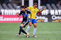 Seattle, WA - Thursday July 27, 2017: Yui Hasegawa, Yui Hasegawa, Marta during a 2017 Tournament of Nations match between the women's national teams of the Japan (JAP) and Brazil (BRA) at CenturyLink Field.