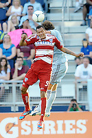 Blas Perez (9) FC Dallas forward goes up for a header... Sporting KC defeated FC Dallas 2-1 at LIVESTRONG Sporting Park, Kansas City, Kansas.