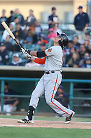 Ryder Jones (9) of the San Jose Giants bats during a game against the Lancaster JetHawks at The Hanger on April 11, 2015 in Lancaster, California. San Jose defeated Lancaster, 8-3. (Larry Goren/Four Seam Images)