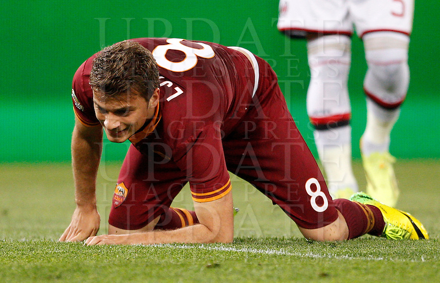 Calcio, Serie A: Roma vs Milan. Roma, stadio Olimpico, 25 aprile 2014.<br /> AS Roma forward Adem Ljajic, of Serbia, reacts after missing a scoring chance during the Italian Serie A football match between AS Roma and AC Milan at Rome's Olympic stadium, 25 April 2014.<br /> UPDATE IMAGES PRESS/Riccardo De Luca