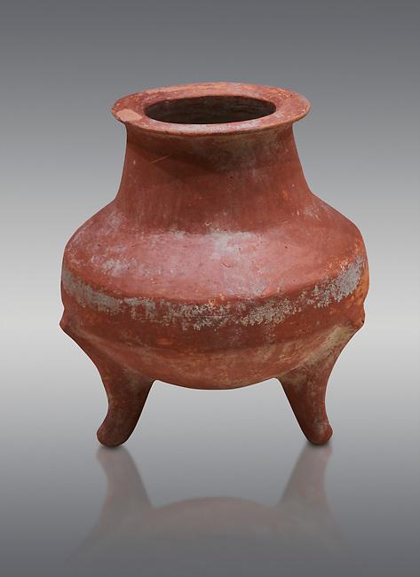 Hittite terra cotta pot on trident legs. Hittite Old Period, 1650 - 1450 BC.  Hattusa Boğazkale. Çorum Archaeological Museum, Corum, Turkey