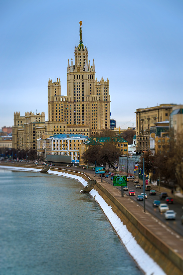 "MOSCOW - CIRCA MARCH 2013: View of one the famous ""Seven Sisters"" or Stalinskie Vysotki Building in Moscow, circa 2013. With a population of more than 11 million people is one the largest cities in the world and a popular tourist destination."