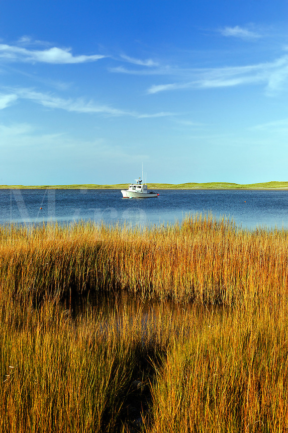 Lobster boat in Nauset Harbor, Orleans, Cape Cod, MA, USA
