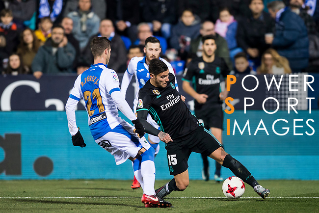 Theo Hernandez (R) of Real Madrid fights for the ball with Ruben Salvador Perez del Marmol of CD Leganes during the Copa del Rey 2017-18 match between CD Leganes and Real Madrid at Estadio Municipal Butarque on 18 January 2018 in Leganes, Spain. Photo by Diego Gonzalez / Power Sport Images
