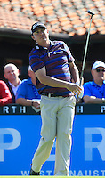 Jason Dufner (USA) on the 1st tee during Round 1 of the ISPS HANDA Perth International at the Lake Karrinyup Country Club on Thursday 23rd October 2014.<br /> Picture:  Thos Caffrey / www.golffile.ie