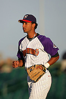 Ebert Rosario of the Lancaster JetHawks during game against the Visalia Rawhide at Clear Channel Stadium in Lancaster,California on June 10, 2010. Photo by Larry Goren/Four Seam Images