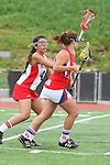 Redondo Beach, CA 05/14/11 -  Allie Conrad (Los Alamitos #13) and Kamryn Claridge (Redondo Union #4)in action during the 2011 US Lacrosse / CIF Southern Section Division 1 Girls Varsity Lacrosse Championship, Los Alamitos defeated Redondo Union 17-5.