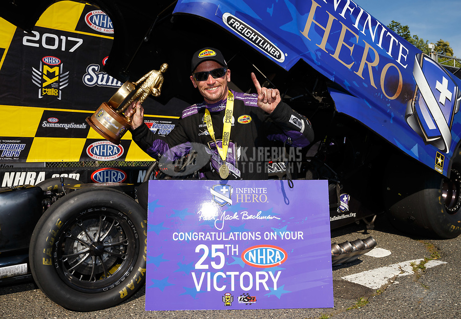 Jun 11, 2017; Englishtown , NJ, USA; NHRA funny car driver Jack Beckman celebrates after winning the Summernationals at Old Bridge Township Raceway Park. Mandatory Credit: Mark J. Rebilas-USA TODAY Sports
