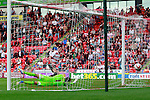 Doncaster Rovers v Nottingham Forest<br /> 21.9.2013<br /> Sky Bet Championship<br /> Picture Shaun Flannery/Trevor Smith Photography<br /> Federico Macheda scores Doncaster's second goal.