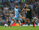 Sergio Aguero of Manchester City tussles with Andreas Christensen of Borussia Monchengladbach during the UEFA Champions League Group C match at The Etihad Stadium, Manchester. Picture date: September 14th, 2016. Pic Simon Bellis/Sportimage