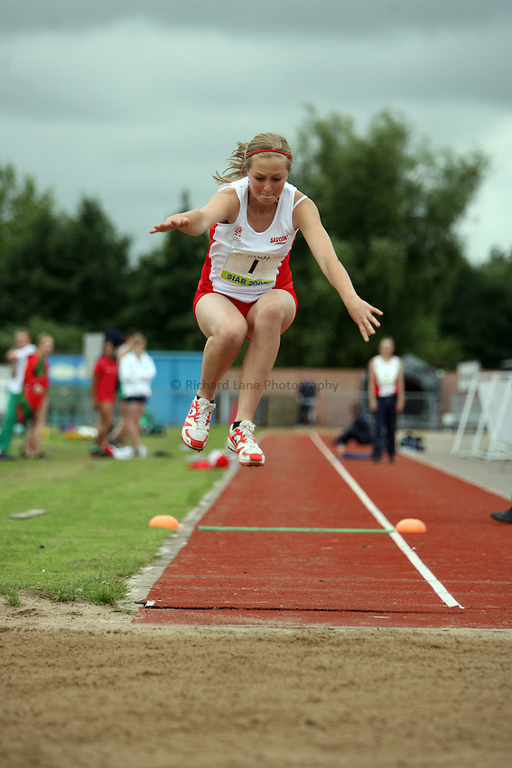 Photo: Rich Eaton...Schools International Athletic Board, Track & Field International Match, Newport. 21/07/2007. Gemma Smith of England competes in the girls triple jump.