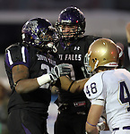 ROME, GA - DECEMBER 18: Jordan Taylor #26 of the University of Sioux Falls celebrates a touchdown with teammate Alex Anderson #9 against Carroll College in the second quarter at Barron Stadium in the 2010 NAIA National Football Championship in Rome, GA.(photo by Dave Eggen/Inertia)