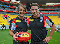 St Kilda AFL players Josh Saunders (left) and Jack Steven at the AFL celebration of 100 day countdown until the ANZAC Centenary at Westpac Stadium, Wellington, New Zealand on Wednesday, 15 January 2015. Photo: Dave Lintott / lintottphoto.co.nz