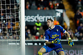 9th January 2018, Mestalla Stadium, Valencia, Spain; Copa del Rey football, round of 16, second leg, Valencia versus Las Palmas; Raul Lizoain, goalkeeper for Las Palmas watches his goal as the ball goes in from a long distance shot by Vietto