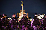 Kiev, Ukraine - 29 nov 2013: Tensions increased during the rally following the end of Vilnius summit. Thousands of «Berkut», ukrainian anti-riot police, surrounded the meeting and provocations organized by the government where feared. Credit: Niels Ackermann / Rezo.ch