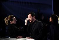 Roma,29 Novembre 2018<br /> Matteo Salvini al trucco durante la trasmissione televisiva L'aria che tira