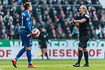 13.04.2019, Weserstadion, Bremen, GER, 1.FBL, Werder Bremen vs SC Freiburg<br /> <br /> DFL REGULATIONS PROHIBIT ANY USE OF PHOTOGRAPHS AS IMAGE SEQUENCES AND/OR QUASI-VIDEO.<br /> <br /> im Bild / picture shows<br /> Bibiana Steinhaus (Schiedsrichterin / referee) weist Alexander Schwolow (SC Freiburg #01) wiederholt auf Zeitspiel hin, <br /> <br /> Foto &copy; nordphoto / Ewert