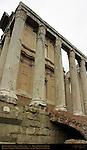 Temple of Antonius and Faustina detail of Podium Columns and Medieval Stairway Forum Romanum Rome