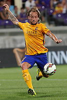 Calcio: amichevole Fiorentina vs Barcellona. Firenze, stadio Artemio Franchi, 2 agosto 2015.<br /> FC Barcelona's Ivan Rakitic kicks the ball during the friendly match between Fiorentina and FC Barcelona at Florence's Artemio Franchi stadium, 2 August 2015.<br /> UPDATE IMAGES PRESS/Riccardo De Luca