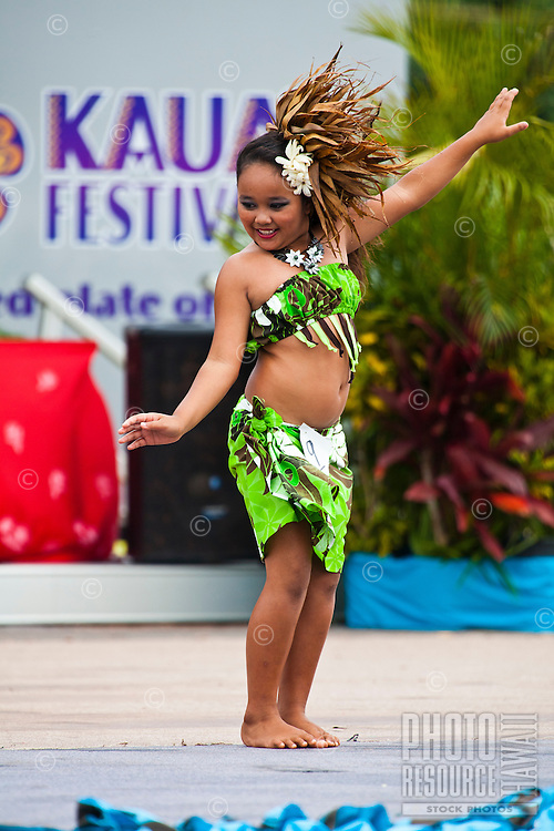 A young girl performing at the 2011 Kauai Polynesian Festival
