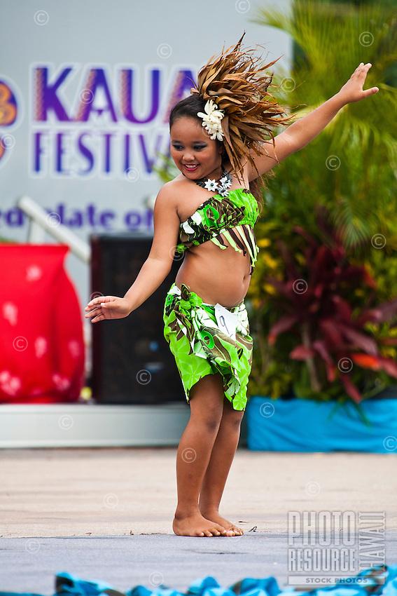 A young girl performing at the 2011 Kauai Polynesian Festival