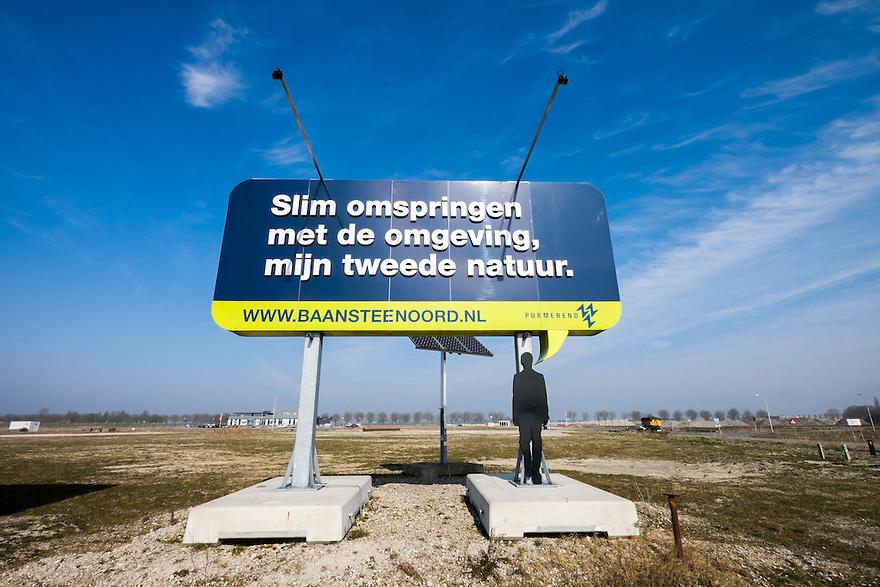 Nederland, Purmerend, 17 maart 2015<br /> Bord op nieuw bouwterrein voor bedrijven in Purmerend. <br /> Foto: (c) Michiel Wijnbergh
