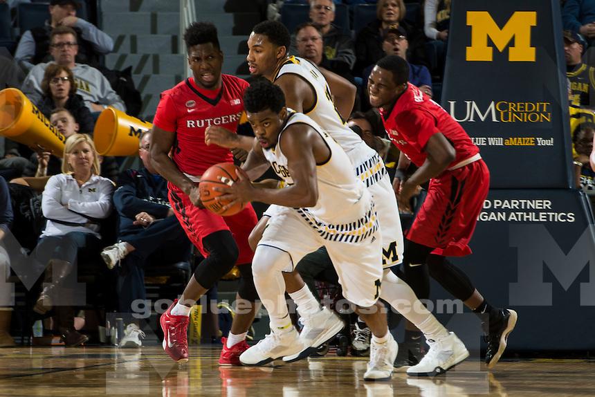 The University of Michigan men's basketball team defeats Rutgers University, 68-57, at Crisler Arena in Ann Arbor on Jan. 27, 2016.