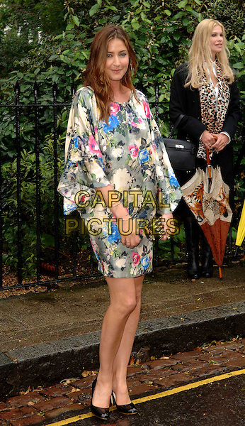 LISA SNOWDON.Attending David Frost's Summer Party, at Sir David Frost's private residence in London, England, July 9, 2008..full length green pink floral print dress satin silk black shoes heels clutch bag .CAP/WIZ.©Wizard/Capital Pictures