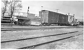 View of a yard track containing a flanger (number obscured by the blade), boxcar #3218 and Jordan spreader #OV.<br /> D&amp;RGW
