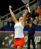 Moskou, Russia, Februari 4, 2016,  Fed Cup Russia-Netherlands, Richel Hogenkamp (NED) jubilates her matchpoint after defeating Kuznetsova, Netherlands lead 2-0<br /> Photo: Tennisimages/Henk Koster