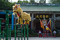 Martial artists perform traditional lion dance on pillars at Wong Fei-hung Martial Arts School/Museum in Xiqiao of Nanhai district in Foshan city, Guangdong province, November 10, 2011.