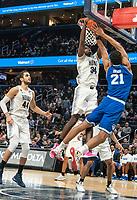 WASHINGTON, DC - FEBRUARY 05: Qudus Wahab #34 of Georgetown blocks  shot by Ike Ibiagu #21 of Seton Hall during a game between Seton Hall and Georgetown at Capital One Arena on February 05, 2020 in Washington, DC.