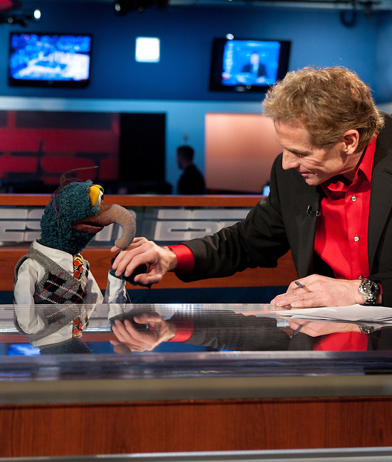 November  15, 2011 - Bristol, CT - Studio S:  The Muppets on ESPN First Take. Skip Bayless and Gonzo the Great.. .Credit: Joe Faraoni