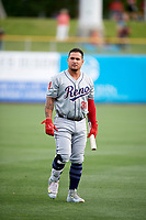 Oswaldo Arcia (31) of the Reno Aces warms up in the outfield before the game against the Salt Lake Bees in Pacific Coast League action at Smith's Ballpark on June 15, 2017 in Salt Lake City, Utah. The Aces defeated the Bees 13-5. (Stephen Smith/Four Seam Images)