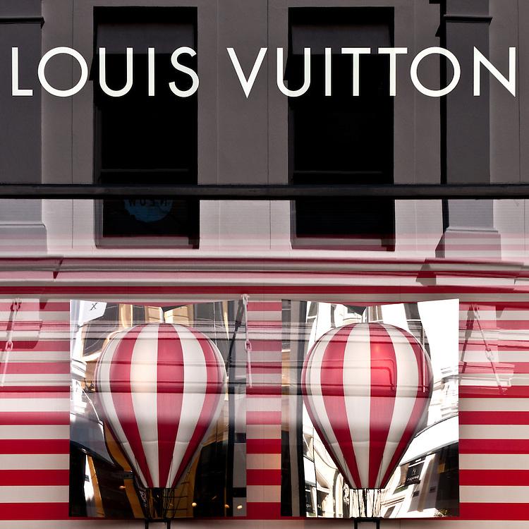 LV Hot Air Balloons 03 - Louis Vuitton shopfront display window, King Street, Perth, Western Australia.
