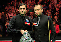 Ronnie O'Sullivan and Barry Hawkins shake hands before the start of the Dafabet Masters FINAL between Barry Hawkins and Ronnie O'Sullivan at Alexandra Palace, London, England on 17 January 2016. Photo by Liam Smith / PRiME Media Images