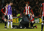 John Fleck of Sheffield Utd  revives treatment for a cut eye during the Championship match at Bramall Lane Stadium, Sheffield. Picture date 30th December 2017. Picture credit should read: Simon Bellis/Sportimage