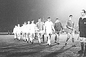 10.02.1965  Cologne versus Liverpool European Cup Quarter-finals ended 0:0; Both tems take the field showing Ron Yeats and goalie Tommy Lawrence (Liverpool), and Hans Sturm and keeper Anton Schumacher (Cologne)