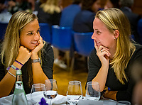 Den Bosch, The Netherlands, Februari 07 2019,  Maaspoort , FedCup  Netherlands - Canada, official dinner, Dutch table, Aranxta Rus in conversation with Richel Hogenkamp (R)<br /> Photo: Tennisimages/Henk Koster