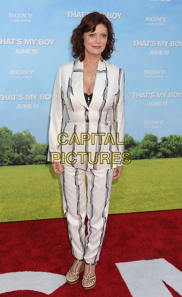 "Susan Sarandon.The Los Angeles premiere of ""That's My Boy"" at Regency Village Theatre in Westwood, California, USA..June 4th, 2012 .full length white black grey gray striped stripes suit .CAP/ROT/TM.©Tony Michaels/Roth Stock/Capital Pictures"