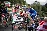 Tim Declercq (BEL/Deceuninck - Quick Step) up the brutal (last climb) Alto de Arraiz (up to 25% gradients!), 7km from the finish <br /> <br /> Stage 12: Circuito de Navarra to Bilbao (171km)<br /> La Vuelta 2019<br /> <br /> ©kramon
