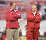 MADISON, WI - SEPTEMBER 24: Head coach Barry Alvarez, right, and defensive coordinator Bret Bielema of the Wisconsin Badgers prior to the game against the Michigan Wolverines at Camp Randall Stadium on September 24, 2005 in Madison, Wisconsin. The Badgers beat the Wolverines 23-20. Photo by David Stluka.