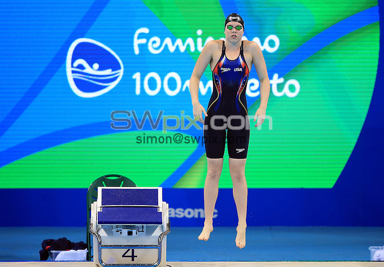 RIO DE JANEIRO, BRAZIL - AUGUST 07:  Lilly King of the USA competes in the Women's 100m Breaststroke Semifinals on Day 2 of the Rio 2016 Olympic Games at the Olympic Aquatics Stadium on August 7, 2016 in Rio de Janerio, Brazil.  (Photo by Vaughn Ridley/SWpix.com)